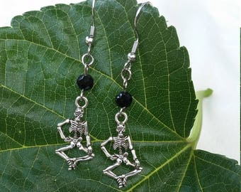 Black and silver skeleton earrings