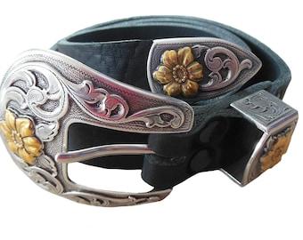 "Terginum Leather Belt Belt Western Belt ""BICOLOR"" Women's Belt Men's Belt Black Width 25 mm"