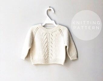 3160292e4 KNITTING PATTERN    Knit Sweater Pattern    Baby Sweater    Itty Bitty  Pretty Sweater