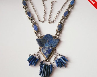Superb Vintage White Metal & Inlaid Lapis Lazuli Panel Necklace