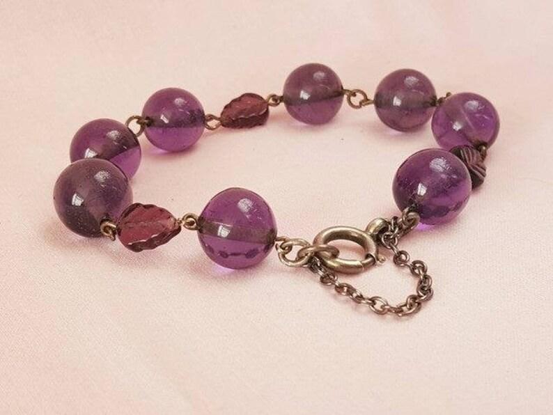 Glass Vintage Victorian Bride Victorian Amethyst Vintage Wedding Safety Chain Bracelet Chain Linked White Metal