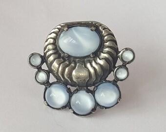 Vintage Deco Dress Clip - Art Deco - White Metal European Silver - Powder Blue Glass Cabochon - Something Blue - Something Old