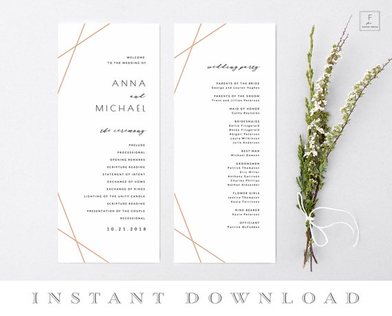 rose gold wedding program template order of service program etsy