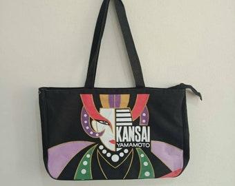ca6e846d164 Vintage Kansai Yamamoto Illustrative Print Shopper Tote Bags