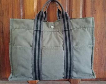 4b54fb8d538 Super Rare Vintage High End Luxury Designer Brand Hermes Paris Fourre Tout  Canvas Tote Bag Made In France