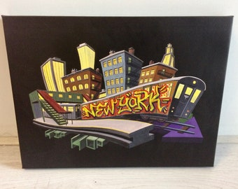 """Small hand-painted giclee print """"New York"""""""