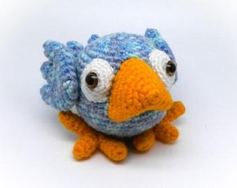 Funny crochet Blue Bird chick, amigurumi bird, bird stuffed toy, crochet bird, small crochet toy