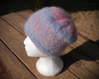 Soft, warm, fluffy mohair beanie hat, light blue with pink hearts, uncommon and useful gift for wife or girlfriend on Valentine's Day