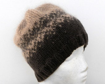Coffee and Cream warm winter hat for women handknit from natural wool with mohair jaquard pattern soft elegant beanie hat gifts for her