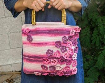 Sakura flowers crochet bag pink bag tote bag handmade bag handbag for women with bamboo handles medium size bag crochet tote