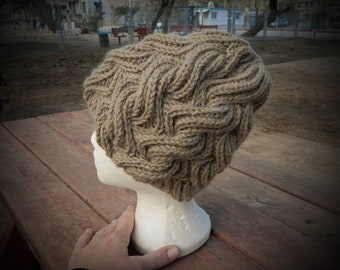 Bulky and beautiful yak wool beanie hat for ladies, brown hand knit wool hat with thick braids, natural yak wool hat for very cold winter