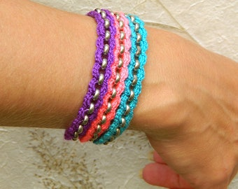 Boho bracelet gift for girl hippy jewelry for girls crochet bracelet crocheted jewelry girls bracelet colorful jewelry for summer