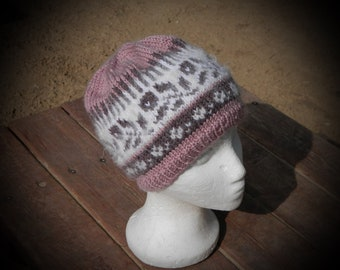 Dusty rose yak wool hand knit beanie hat for ladies, soft and warm winter beanie with roses and floral pattern, feminine and beautiful hat