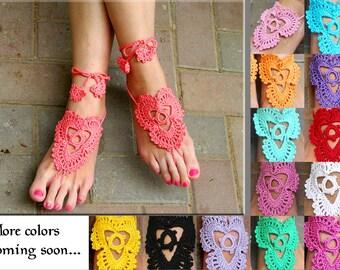 Boho wedding sandals hot pink barefoot sandals crochet sandals beach wedding bridal sandals yoga sandals toe ring sandal pure cotton