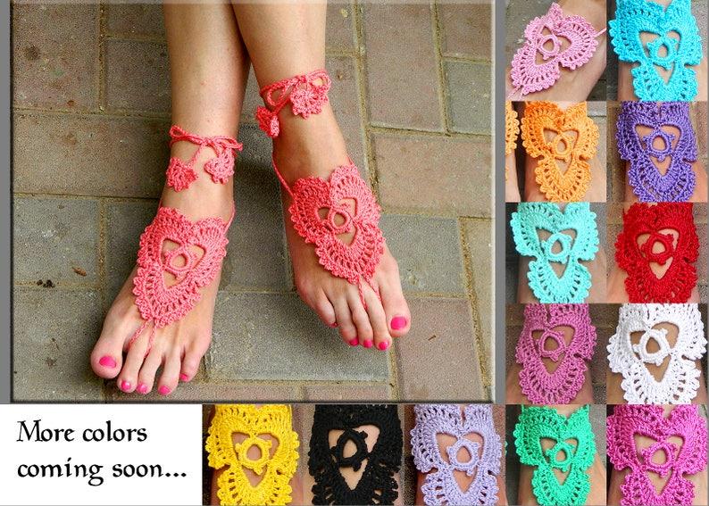 d5576aaadab0d Boho wedding sandals hot pink barefoot sandals crochet sandals | Etsy