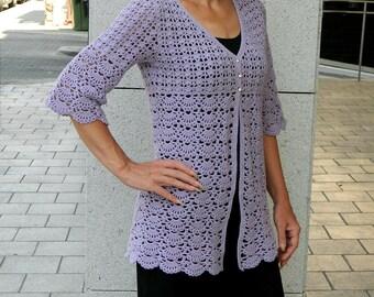Light lavender lace crochet jacket for her medium size womens cardigan summer jacket crochet cardigan romantic fashion boho jacket