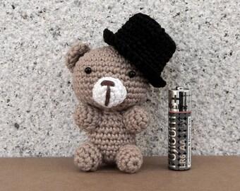 Tiny amigurumi Bear gentleman with top hat soft crochet toy miniature animal cute small gift