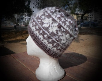 Charming winter hat for ladies, hand knit beanie hat with jacquard stars, natural yak wool knitted hat, soft and fluffy beanie, cozy hat