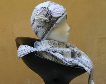 Trendy Dragon Tail scarf and little smart beanie hat with crochet flower elegant autumn spring fashion for women hat and scarf gift for her