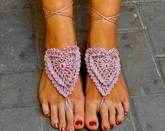 Sparkling pink bridal sandals crochet sandals barefoot sandals beach wedding pool party yoga sandals toe ring sandals READY TO SHIP