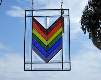 LGBT Rainbow Chevron Stained|Beveled Glass Panel Suncatcher.