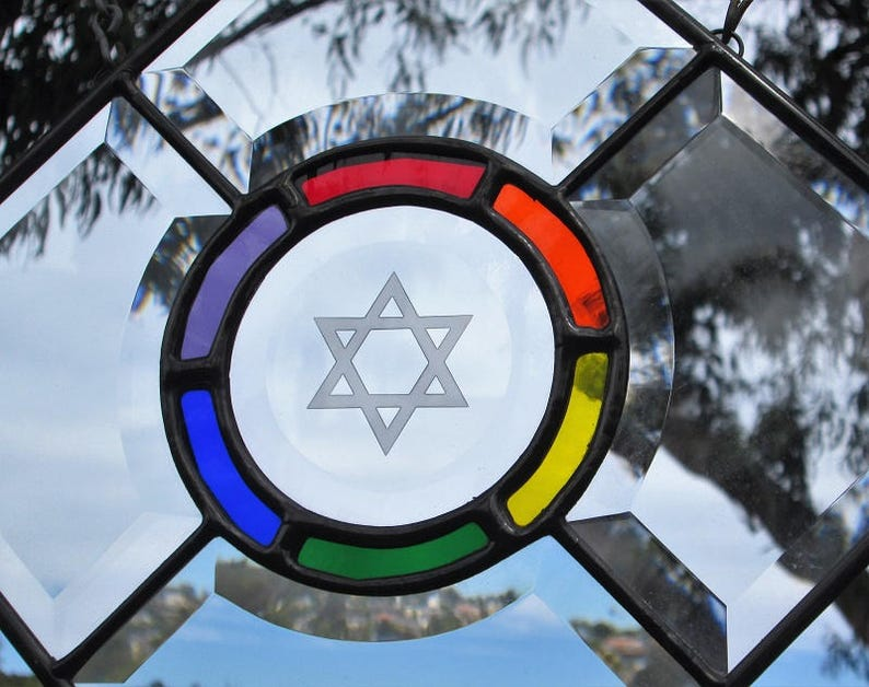 LGBT Pride Rainbow Engraved Star Of David Stained|Beveled Glass Panel.