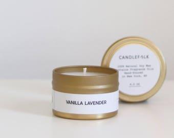 VANILLA LAVENDER - 4 oz Travel Soy Candle - Hand-Poured - Candlefolk