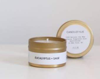 EUCALYPTUS + SAGE - 4 oz Travel Soy Candle - Hand-Poured - Candlefolk