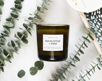 EUCALYPTUS + SAGE - 8 oz Soy Candle - Hand-Poured - Candlefolk