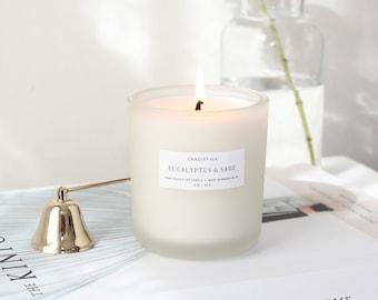 EUCALYPTUS & SAGE - 8 oz Soy Candle - Hand-Poured - Candlefolk