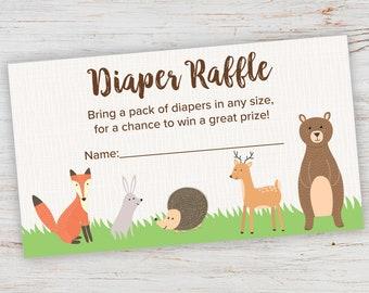 diaper raffle tickets printable diaper raffle animals raffle etsy