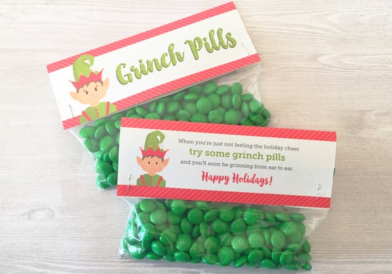 graphic regarding Grinch Pills Printable referred to as Grinch Tablets Handle Bag Topper, Printable Favors, Family vacation Printable Deal with Bag Topper, Do-it-yourself Stocking Stuffer