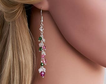 Crystal Pink Green Long Dangle Sterling Silver 925 Earrings Swarovski Crystal Dangle Earrings Wedding Earrings Bridesmaid, Bridal Earrings