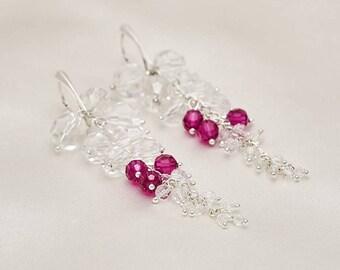Long Bridal Earrings Pink, Swarovski Pink Fuchsia Crystal Clear Sterling Silver Earrings, Crystal Clear Pink Drop Earrings, Wedding Earrings
