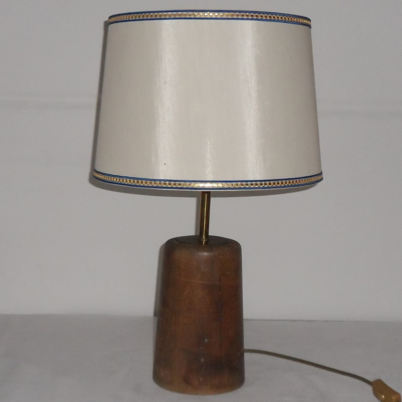 Table lamp from about 150 years old table leg gold border handmade, Fabric lampshade with blue Brass metal mount with E27 socket