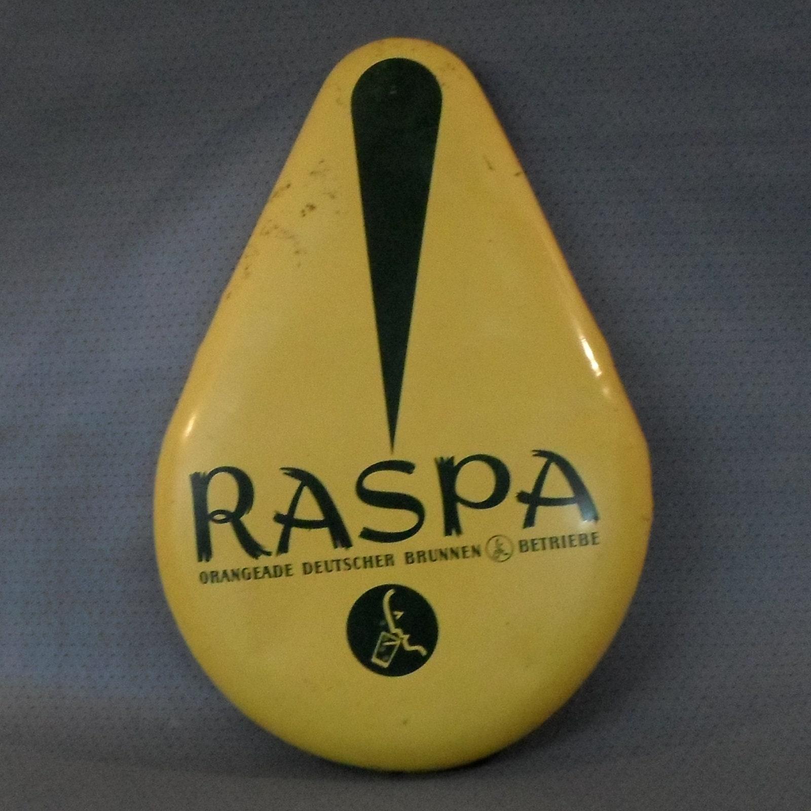 Vintage, old tin sign Raspa Orangeade, lemonade, German