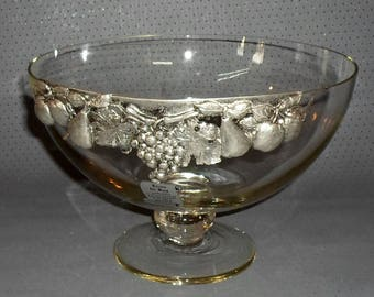 Beautiful Vintage Large Glass Foot Bowl With Beautiful Pewter Mounting, Fruit  Bowl, Decorative Glass