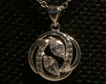 Sterling Silver Marquise Crystal Round Pendant