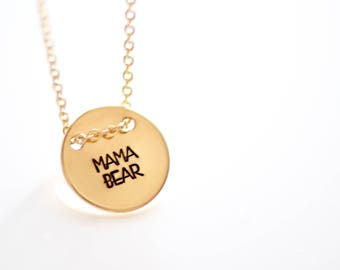 Mom Necklace - Mama Charm Necklace - Mother's Necklace - Disc Charm - Everyday Necklace