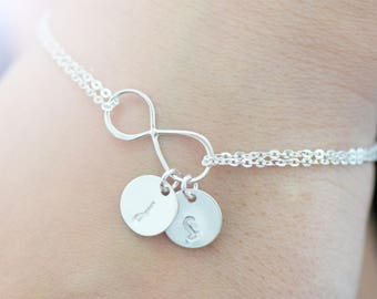 Personalized Infinity Bracelet - Infinity Bracelet - Bridesmaid Gift - Personalized Jewelry - Mother's Bracelet - Initial Bracelet