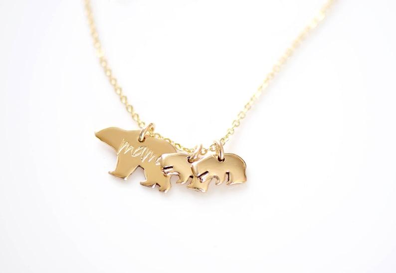 Mother/'s Necklace Mama Bear Necklace Baby Bear Necklace Mama Bear