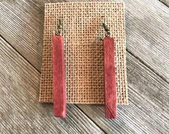 Wood earrings basswood handmade