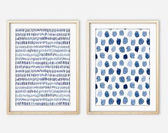 Blue  Art Print Set of Two, Navy Indigo, Large Wall Art, Abstract Watercolor Brushstrokes Painting, Coastal Decor, Living Room Art, Canvas