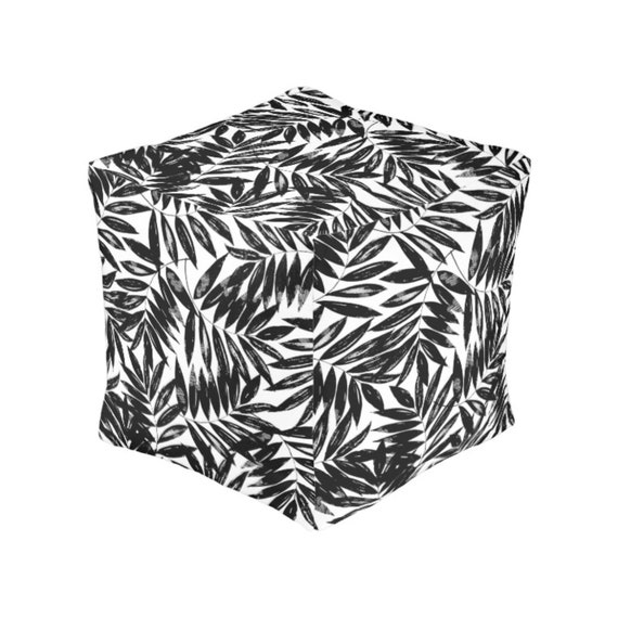 Pleasing Black And White Square Pouf Botanical Leaves Bean Bag Chair Ottoman Floor Cushion Farmhouse Decor Cube Ottoman Footstool Unemploymentrelief Wooden Chair Designs For Living Room Unemploymentrelieforg