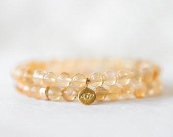 Mala Bead Bracelet Gold Plated Beads semi-precious stones Natural Citrine high grade gemstones Healing Crystals