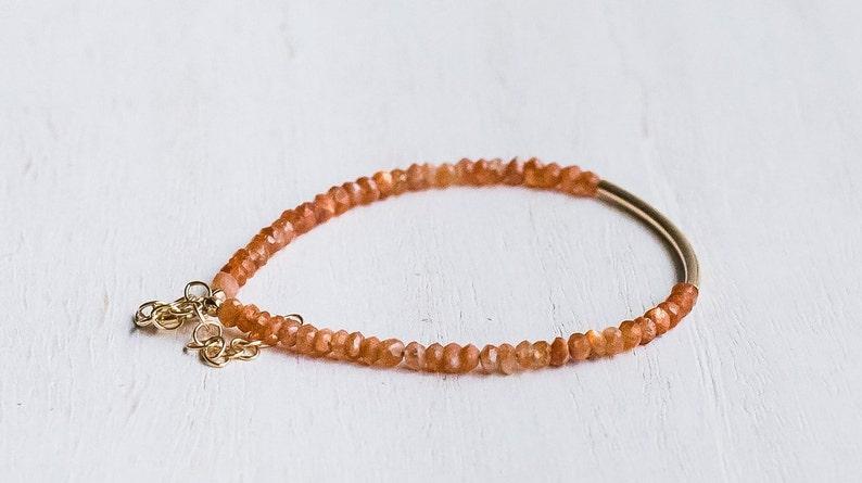 Sunstone Dainty Bracelet 3-4mm Tiny Beaded Gemstone Thin Slim Stacking Bracelet Womans Delicate Jewelry Gift 14K Gold Filled