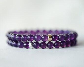 AAA Amethyst   6mm Amethyst bracelet   Purple amethyst beaded bracelet   gift for her   healing bracelet   February birthstone