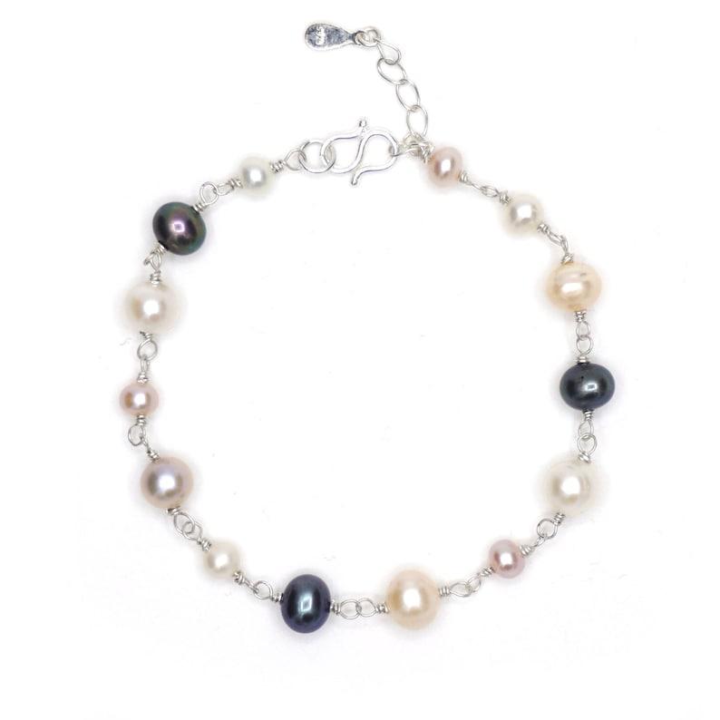 Silver bracelet 9251000 freshwater culture pearl.