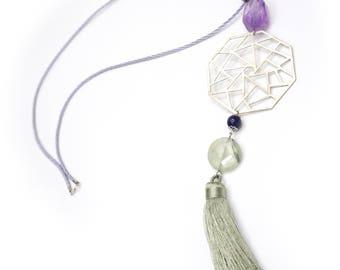 German silver pendant necklace. Pearl: Ametrine, red Jasper, Lapis Lazuli, Peridot. Grey cord chain.