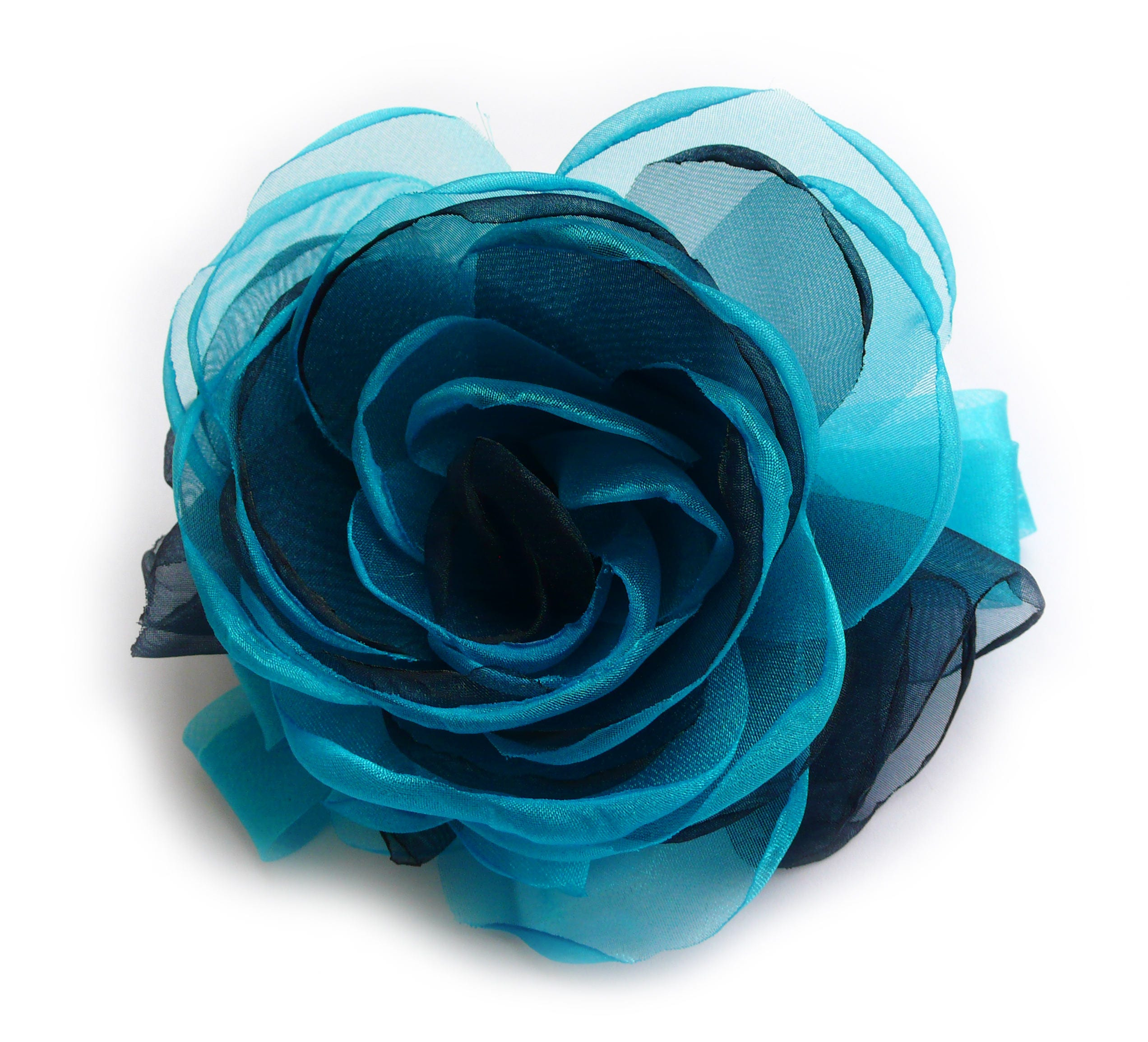 broche fleur en tissu organza couleur bleu marine et etsy. Black Bedroom Furniture Sets. Home Design Ideas